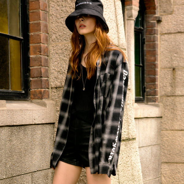 [UNISEX/2COLOR]TARTAN CHECK LONG SHIRT BLACK